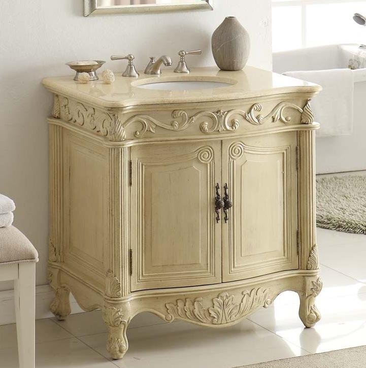 32in Indiana Sink Vanity | Cream Beige Cabinet | Brown ...