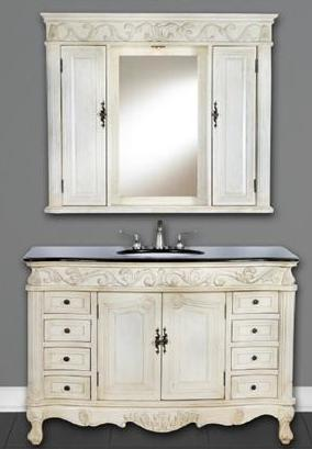 48 Inch Contessa Vanity with Matching Set Wall Hutch